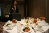 Aaron Harber, (cq), works the room during his lunch speech to the (I.P.A.M.S.) Independent...