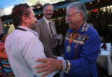 Los Mayas owner and chef Jorge Fernando Trillo (cq), left, shakes hands with Rudy...