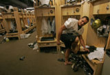 CU linebacker Jordan Dizon at his locker after practice Thursday September 13, 2007. The...