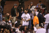 Rockies Todd Helton celebrates Rockies victory in the bottom of the13th inning, October 1, 2007,...