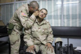 04/10/2005 Iraq-SPC Salvador Mathewson (cq-Mathewson), 22, is examined by 3rd ACR doctor Captain...