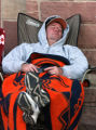 Diehard Rockies fan Pat Williams (cq),43, of Denver  waits  outside of the Coors Field ticket...