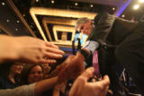 Mark Udall shakes hands after giving his acceptance speech at the Colorado Democrats election...