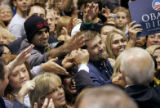 Democratic VP candidate  Joe Biden greats supporters after he  gave a powerful speach at the...