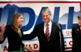 (PG2055) Senator-elect Mark Udall's daughter Tess reacts when a reporter asked her what she...