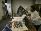 Obama volunteers Stan Kraulman (cq) and Lucille Rice (cq), both from Denver  clean up up a main...