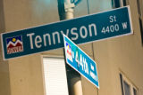 Street sign at Tennyson and 44th when Eat drink shop visits Berkley Park for November. MARIE...