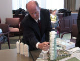 Buzz Geller  (cq) presented his plan for the $300 million Bell Tower to the Lower Downtown Design...