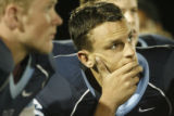 DM2591  Valor Christian High School quarterback Brock Berglund listens to his coaches after a...