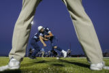 DM2857  Freshman Alex Hinesley and junior Cameron Fox collide as the Valor Christian High School...