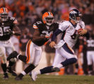 (CS1364) Jay Cutler is chased by Brodney Pool in the fourth quarter of the Denver Broncos against...