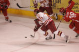#21 Tyler Bozak (cq) pushes the puck forward as the Denver Pioneers take on the Ohio State...