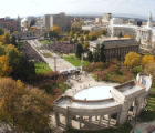 The crowd at Civic Center Park begins to settle in prior to the arrival of Democratic presidential...