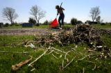 ({seqn)} Carol Ann Pfeif rakes debris at the Lakeview Cemetery Sunday morning, May 25, 2008 after...