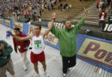 DM2607  Ridouane Harroufi of Azour, Morocco celebrates with his brother and coach Aziz Harroufi...