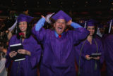 At South HS graduation, Ricardo Escobedo shows his excitement as he and classmates are presented...