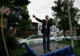 Congressman Mark Udall speaks at a campaign stop at Metro Taxi in Denver, Colo. on Tuesday May 27,...