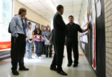 MJM862  Mapleton Expeditionary School of the Arts director, Mike Johnston, left, stands by as...