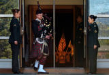 "Bagpiper Peter Harty of the Pikes Peak Highlanders plays ""Going Home"" at Soldiers..."