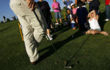 DM0135  Dustin Jensen, Director of Youth Programs for the Colorado Golf Association, teaches a...