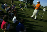 DM0217  Dustin Jensen, Director of Youth Programs for the Colorado Golf Association, teaches a...