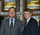 Senate candidate John Thune, moderator Tim Russert and Thune's campaign manager, Dick Wadhams of...