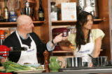 BG1423 In the Kitchen with Top Chefs'  Tom Colicchio and Padma Lakshmi entertain the crowd during...
