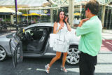 Rosalina Diecidue (cq) gets out of her silver Bentley at valet parking before heading into Cherry...