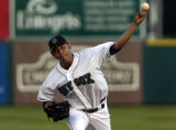 Colorado Springs Sky Sox pitcher Franklin Morales throws in the first inning against the Tacoma...
