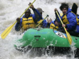 Residents of the Denver Rescue Mission Harvest Farm rural rehab program white-water raft in...
