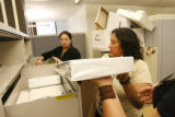 Denver Clerk's office workers (from left) Leonora Pasillas (cq) Polly Gonzales (cq) and Miriam...