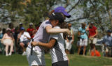 In 5A Class Girls Golf State Tournament the new state champion Becca Huffer of Littleton hugs last...