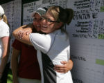 In the end, Bethany Buchner, of Loveland hugs Melissa Martin (l-r) of Central in Grand Junction...