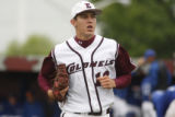 EKU's Christian Friedrich trotted to the dugout after he got the side out on Friday May 16, 2008...