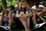 ({seqn)} Friends of Stevie Burns, 19, talk about him outside his home in Littleton, Colo., on...