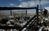 An old corral fence stands in a grassy field, Wednesday evening, October 22, 2008. Walden is know...