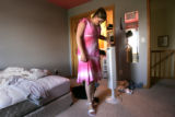 In her first heels Kelley Sperry tries on a new dress for her trip.  Kelley Sperry is a typical 13...