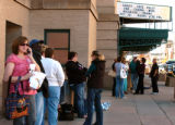 People lined up to hear Michelle Obama speak later in the day at Colorado Springs City Auditorium...