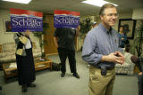 United States Senate candidate Bob Schaffer (cq) speaks with media at the Mesa County Victory...