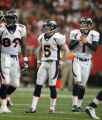 DM0326  Denver Broncos PK Matt Prater #5 reacts after missing a field goal while facing the...
