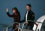 BG0231 Alaska Gov. Sarah Palin and her husband Todd arrive to speak at the Colorado Jet Center in...