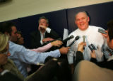 (CS0007) Nuggets Head Coach George Karl speaks with the media after practice about Allen Iverson...