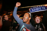 (CS0219) Obama supporters celebrate the election of Barack Obama as the new president of the U.S....
