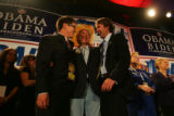 (CS0015) Ken Salazar and other Democrats celebrate the election of Barack Obama as the new...