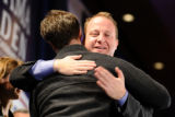 N1105DEMS_JL_11c.JPG_N1105DEMS_JL_11c.JPG.jpg Jared Polis hugs a supporter at the Sheraton Denver...