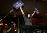 (CS0060) Obama supporters celebrate the election of Barack Obama as the new president of the U.S....
