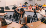 Alameda High School sophomore, Ivette Hernandez participates in a live, two way, webcast with...