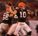 (CS1215) Brady Quinn of Cleveland looks downfield in the  third quarter of the Denver Broncos...