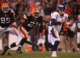 (CS1365) Jay Cutler is chased by Brodney Pool in the fourth quarter of the Denver Broncos against...