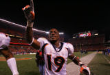 (CS1539) Eddie Royal celebrates after the Denver Broncos defeated the Cleveland Browns at...